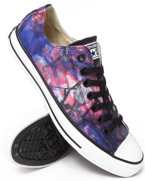 Converse - Men Red,Blue Tie Dye Canvas Chuck Taylor All Star Ox Sneakers