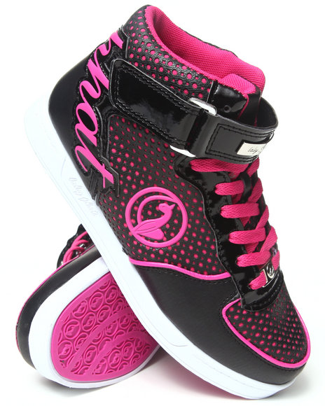 Baby Phat - Women Charcoal,Pink Iris Logo High Top Sneaker