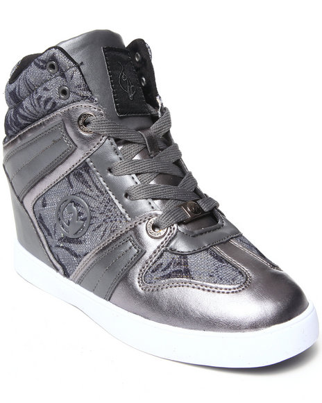 Baby Phat - Women Charcoal Mimi Jacquard Print Wedge Sneaker