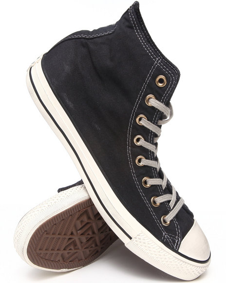 Converse - Men Black Washed Canvas Chuck Taylor All Star Hi Sneakers