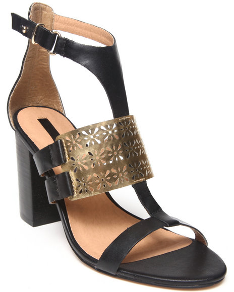 Kensie - Women Black Leather Imelda Cut-Out Metal Block Heel