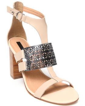 KENSIE - Leather Imelda Cut-out Metal Block Heel