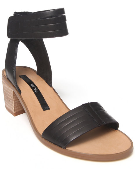 KENSIE Black Heidi Ankle Strap Leather Sandal