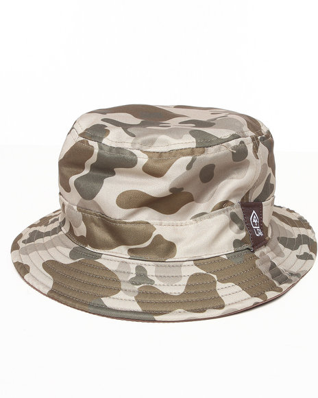 Lrg Men Print Reversible Bucket Hat Khaki
