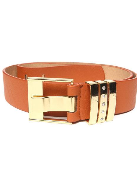 XOXO Brown Bling Gold Trim Pant Belt