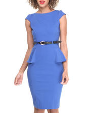 Women - Cap Sleeve Peplum Belted Dress