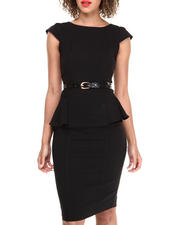 Dresses - Cap Sleeve Millenium Peplum Sheath Dress