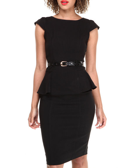 Xoxo - Women Black Cap Sleeve Millenium Peplum Sheath Dress