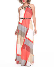 Dresses - Colorblocked Striped Belted Maxi Dress