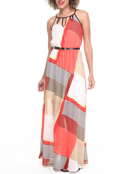 XOXO - Colorblocked Striped Belted Maxi Dress