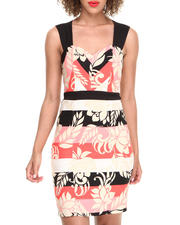 Dresses - Floral Stripe Zip Back Sheath Dress