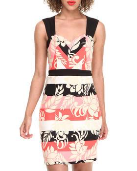 XOXO - Floral Stripe Zip Back Sheath Dress