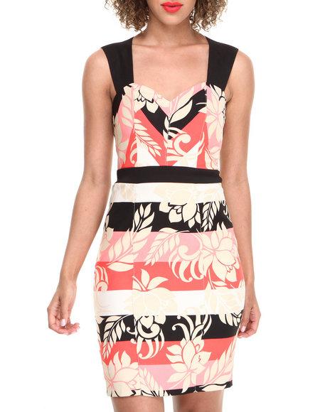 XOXO Coral,Black,Khaki Floral Stripe Zip Back Sheath Dress