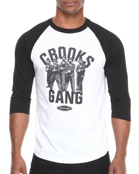 Crooks & Castles - Men Black,White Mobbin' Raglan - $35.99