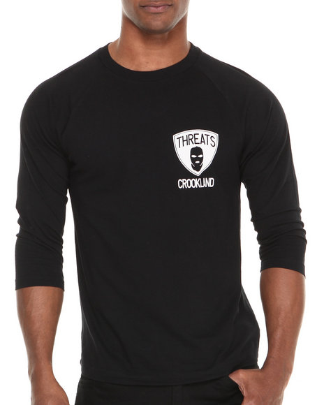 Crooks & Castles Black Threats Baseball Raglan