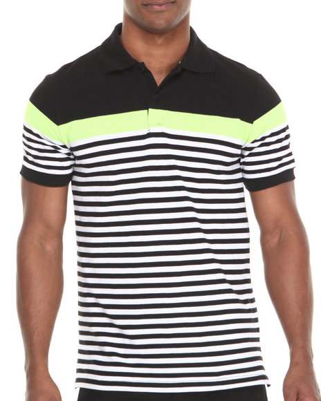 Buyers Picks - Men Black Yarn Dyed Engineered Stripe Pique Polo Shirt
