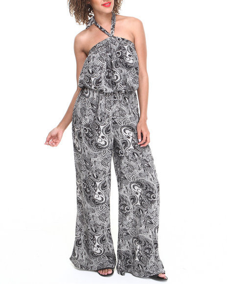 Summer B. - Women Black Ethnic Print Halter Jumpsuit
