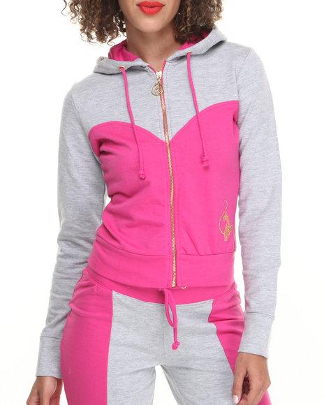 Baby Phat Grey,Pink Color Block Cropped Hoodie