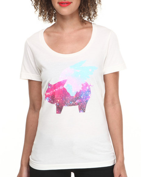Glamour Kills Cream Galaxy Flying Pig Tee