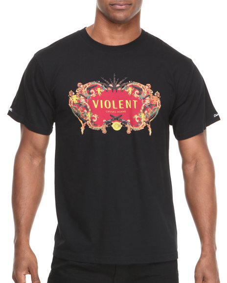 Crooks & Castles - Men Black Violence T-Shirt