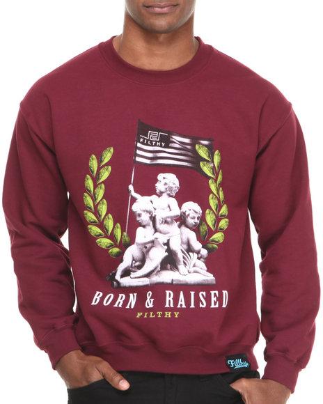 Filthy Dripped - Men Red Born & Raised Crew Sweatshirt