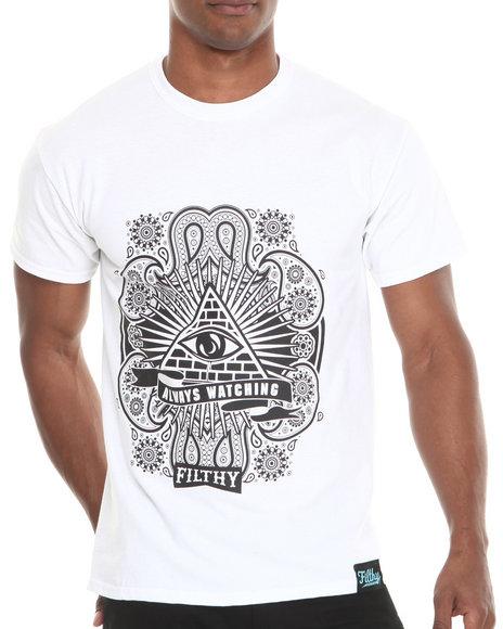 Filthy Dripped - Men White Always Watching T-Shirt - $18.99