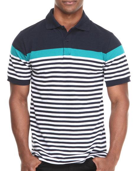Buyers Picks - Men Navy Yarn Dyed Engineered Stripe Pique Polo Shirt