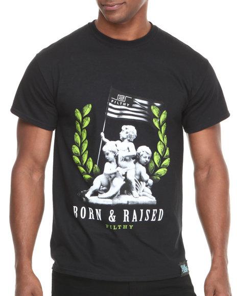 Filthy Dripped - Men Black Born & Raised T-Shirt