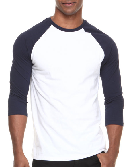 Basic Essentials - Men Navy,White,White,Navy 3/4 Sleeve Raglan Tee