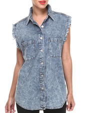 Tops - Slow Burn Acid Wash Denim Shirt