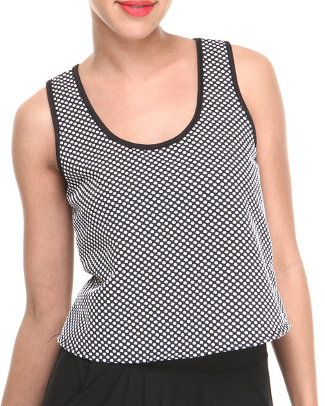 Fashion Lab - Women Black Jojo Sheer Polka Dot Crop Top