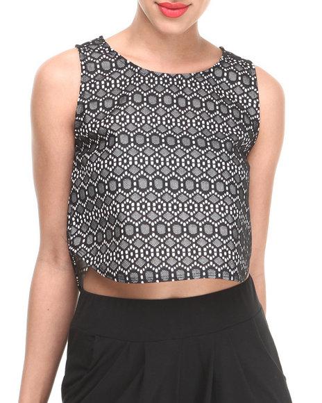 Fashion Lab - Women Black Nana Lace Crop Top