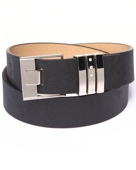 Xoxo - Women Black Bling Silver Trim Pant Belt