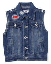 Sizes 4-7x - Kids - DISTRESSED AMERICANA DENIM VEST (4-7)