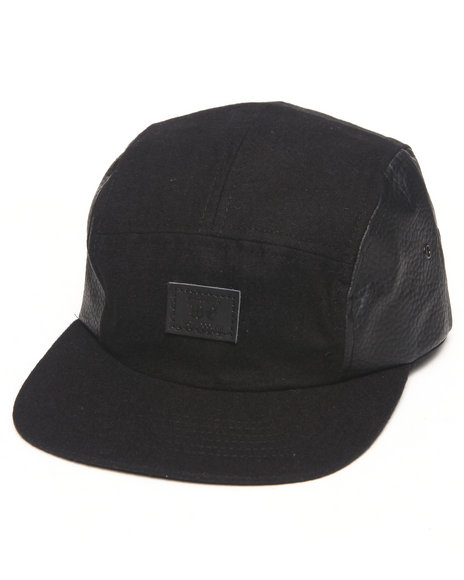 Well Established Drop 5-Panel Clock Hat Black