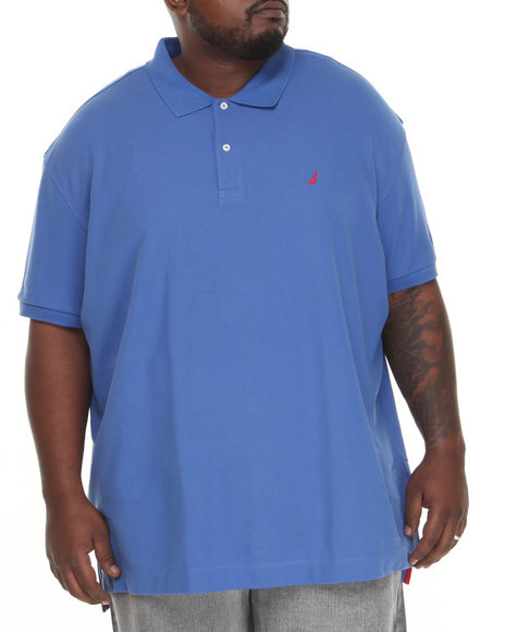 Nautica Blue Solid Deck Polo (Big & Tall)