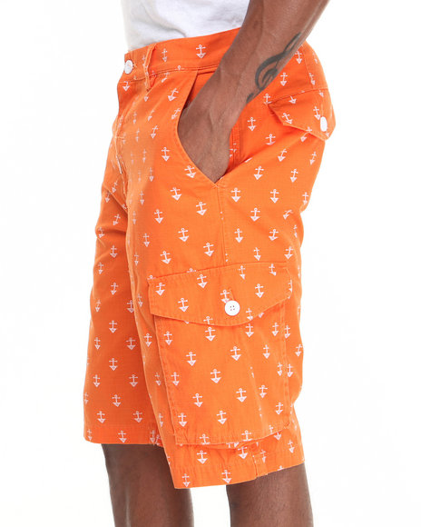 LRG - Men Orange Stay Anchored Classic Cargo Shorts