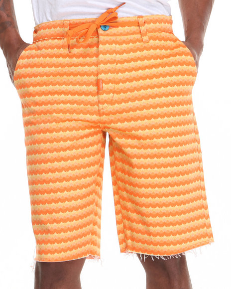 LRG - Men Orange Get Wavy Chino True-Straight Twill Shorts