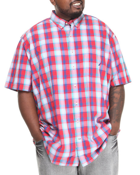 Nautica Red Pop Plaid S/S Button-Down (Big & Tall)