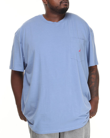 Nautica Blue Solid Logo T-Shirt (Big & Tall)