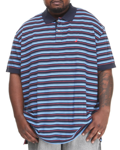 Nautica Navy Feeder Stripe Polo (Big & Tall)