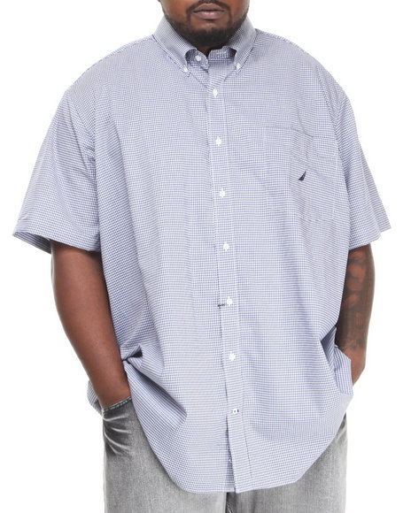 Nautica Navy Mini Gingham S/S Button-Down (Big & Tall)