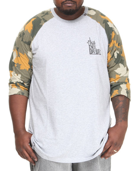 Lrg - Men Grey H.E.L.L. 3/4 Sleeve Raglan Tee (B&T)