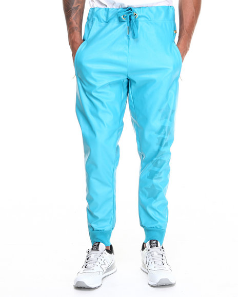 Well Established Teal Alive Drop Crotch Sweatpant W/ Vegan Leather Detail