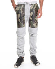 Men - Camo/Grey Quilted fleece sweat pants