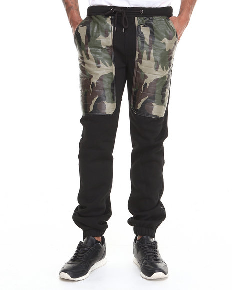 Kite Club - Men Black Black/Camo Quilted Fleece Sweat Pants