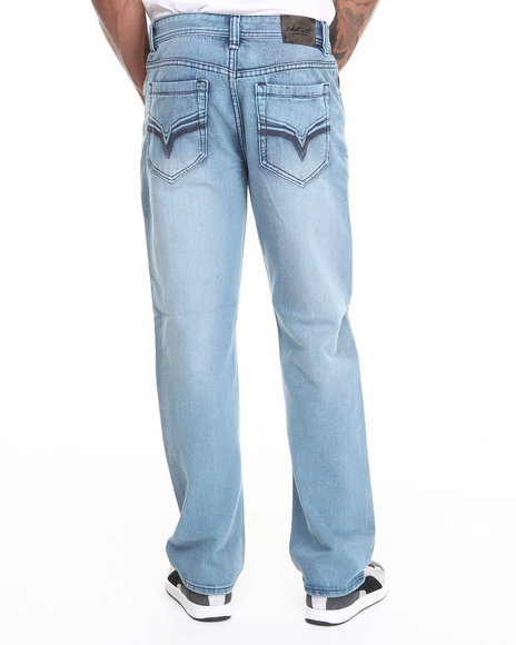 Buyers Picks - Men Light Blue Sea Blue Color Over Dyed Denim Jeans