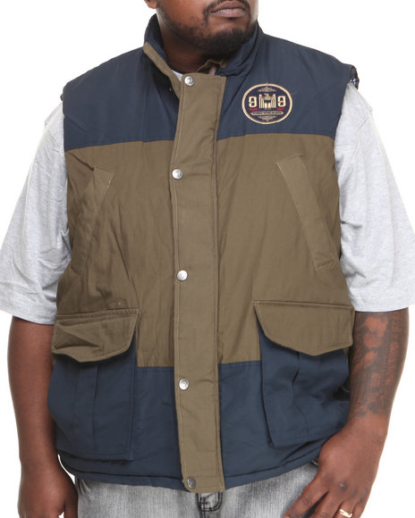 Rocawear - Men Navy,Tan Canvas Nylon Vest (B&T)