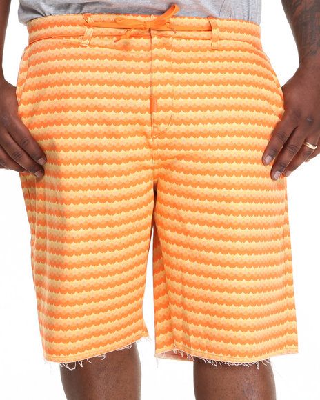 LRG - Men Orange Get Wavy Chino True-Straight Twill Shorts (B & T)