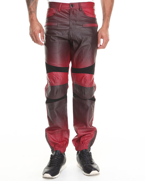 Kite Club - Men Red Faux Leather Pant